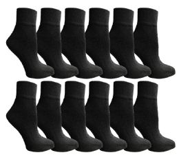 12 Units of Yacht & Smith Men's Cotton Quarter Ankle Sport Socks Size 10-13 Solid Black - Mens Ankle Sock