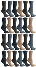 24 of Socksnbulk Womens Dress Crew Socks, Bulk Pack Assorted Chic Socks Size 9-11