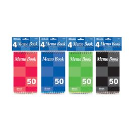 """24 Units of 50 Ct. 3"""" X 5"""" Top Bound Spiral Memo Books (4/pack) - Memo Holders and Magnets"""