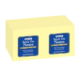 """12 Units of 100 Ct. 3"""" X 3"""" Yellow Stick On Notes (12/shrink) - Memo Holders and Magnets"""