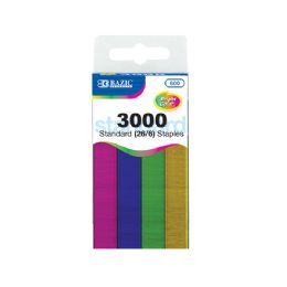 24 Units of 3000 Ct. Standard (26/6) Metallic Color Staples - Staples and Staplers