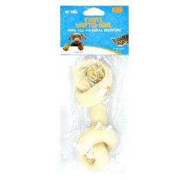 60 Units of 5 Inch White Knotted Bone 50-55g Beefhide - Pet Chew Sticks and Rawhide