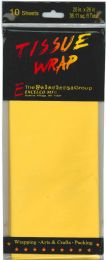 24 Wholesale Tissue Paper Yellow 10 Sheets