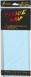 24 Wholesale Tissue Paper Lt Blue 10 Sheets