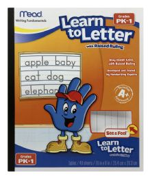 12 Wholesale Mead Learn To Letter Writing Tablet, Raised Ruling