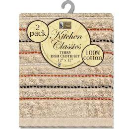 12 Units of Dish Cloth Stripe 2pk - Kitchen Towels
