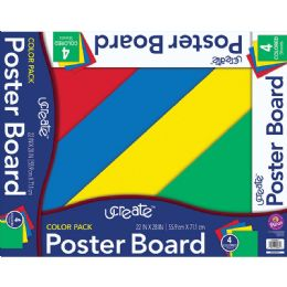 48 Wholesale Poster Board Asst 4ct 22x28