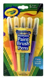 12 Units of Crayola Washable Paint Brush Pens 5 Bright Colors - Paint