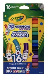 12 Units of Crayola PiP-Squeaks Skinnies Washable Markers 16 - Markers