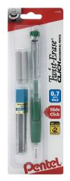 12 Bulk TwisT-Erase Click Mechanical Pencil 0.7mm Clear Barrel Asst Grip Colors With Lead And 2 Erasers 1-pk