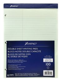 12 Wholesale Ampad Double Sheet Writing Pads, Green Tint, Law Rule, 100 Sh/pd