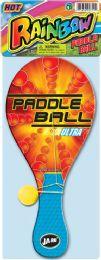 12 Wholesale Paddle Ball Wood Neon 5x13