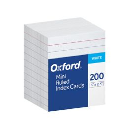 8 Units of Oxford Mini Index Cards, 3 Inch X 2.5 Inch, Ruled, White, 200 Per Pack - Dividers & Index Cards
