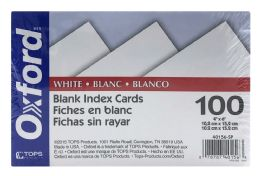 6 Units of Oxford Blank Index Cards, 4 Inch X 6 Inch, White, 100 Per Pack - Dividers & Index Cards