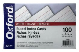 10 Units of Oxford Ruled Index Cards, 5 Inch X 8 Inch, White, 100 Per Pack - Dividers & Index Cards