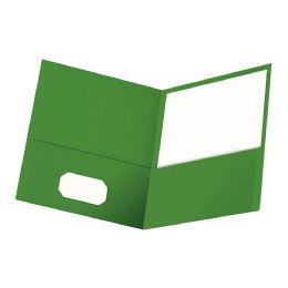 6 Wholesale Oxford Twin Pocket Folder, Letter Size, Green, 25 Per Box