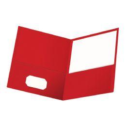 6 Wholesale Oxford Twin Pocket Folder, Letter Size, Red, 25 Per Box