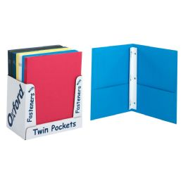 100 Units of Leatherette Two Pocket Portfolio, Fasteners, Assorted Colors, 50 Per Pdq - Office Accessories