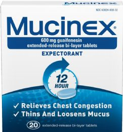 12 Units of Mucinex Expectorant Tab 20 ct - Medical Supply