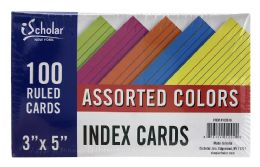 24 Units of Ischolar Assorted Colors 3 Inch X 5 Inch Index Cards - Dividers & Index Cards