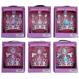 24 Wholesale Tiara Playset W/jewelry 2 Styles