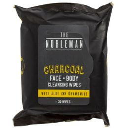24 Wholesale Face & Body Mens Wipes 30ct Charcoal Nobleman In 24pc Pdq