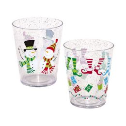 48 Units of Tumbler Christmas Printed And Glitter 2 Assorted - Drinking Water Bottle