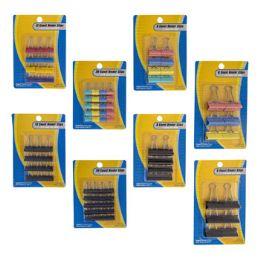 48 Wholesale Binder Clips 4sizes 2 Strip Blk