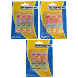 48 Wholesale Push Pins 12pc Novelty Worded