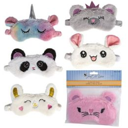 24 Wholesale Eye Mask 6asst Characters Plush/just Be You Pbh