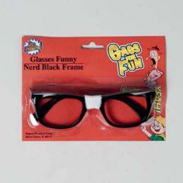 48 Wholesale Eyeglass Funny Nerd Blk Frame Blister Card