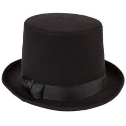 12 Wholesale Hat Black Flocked 6inh