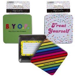 36 Wholesale Gift Card Birthday Tin 3asst Designs 3.94in Party Header