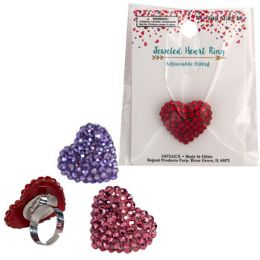 48 Wholesale Ring Jeweled Heart 3asst Clrs