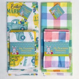 48 Units of Kitchen Textiles Easter Print 2asst 2pk Dishcloth/1 Towel - Home & Kitchen