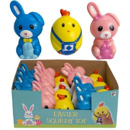24 Wholesale Squishy Easter Character 3asst Chick/bunny In 24pc Pdq/east ht