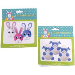 36 Wholesale Easter Pom Craft Set Makes 6pc Bunny & Lamb Pb W/easter Hdr