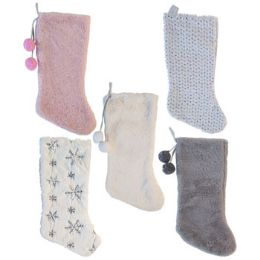 24 Units of Stocking Plush Deluxe Sequins/ - Christmas Stocking