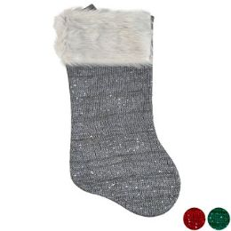 18 Units of Stocking Knit W/sequins Deluxe - Christmas Stocking