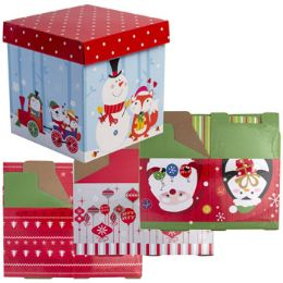 24 Bulk Gift Box 2pk 5.9in Square 4ast Xmas Designs/shrk Lbl W/instruct
