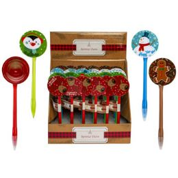 24 Units of Pen Christmas W/spinner 4ast Characters In 24pc Pdq/label - Christmas