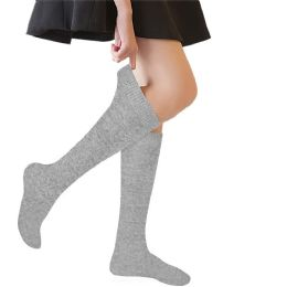 72 of Yacht & Smith 90% Cotton Girls Heather Gray Knee High, Sock Size 6-8