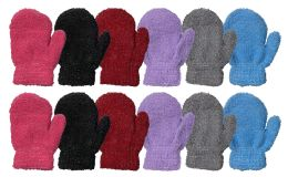 72 Units of Yacht & Smith Kids Glitter Fuzzy Winter Mittens Ages 2-7 - Fuzzy Gloves