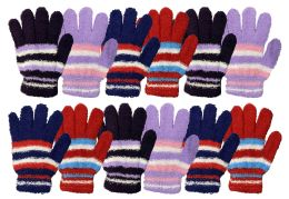 72 Units of Yacht & Smith Womens Warm Assorted Colors Striped Fuzzy Gloves - Fuzzy Gloves
