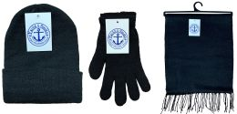96 Units of Yacht & Smith Pre Assembled Unisex 3 Piece Winter Care Sets, Hat Gloves Scarf Set Solid Black - Bulk Hats for Homeless and Charity