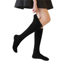 240 of Yacht & Smith 90% Cotton Girls Black Knee High, Sock Size 6-8