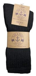 240 Units of Yacht & Smith Mens Terry Line Merino Wool Thick Thermal Boot Socks, Solid Black - Mens Thermal Sock