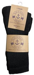 240 Units of Yacht & Smith Womens Terry Line Merino Wool Thick Thermal Boot Socks, Solid Black - Women's Socks for Homeless and Charity
