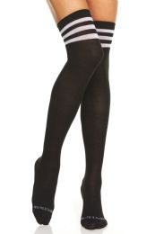72 of Yacht & Smith Womens Over The Knee Referee Thigh High Boot Socks Black With White Stripes
