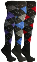 48 Units of Yacht & Smith Womens Over The Knee Referee Thigh High Boot Socks Argyle Print - Womens Over the knee sock